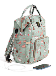 Sunveno Diaper Backpack Bag with USB, Dream Sky, Green