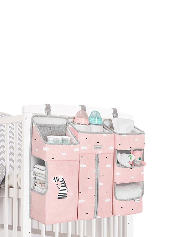 Sunveno Baby Bedside Portable Crib Organizer, Pink