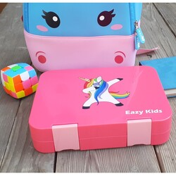 Eazy Kids 4 Compartment Bento Lunch Box with 2 Sandwich Cutter, 2 Veggie Cutter and 10 Animal Shaped Fruit Picks, Unicorn, Pink