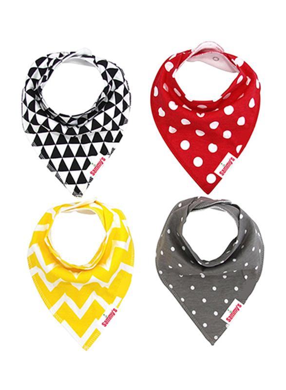 Eazy Kids 4-Pieces Organic Cotton Bandana Bibs Set, Triangle/Dots, Black/Yellow/Red/Grey