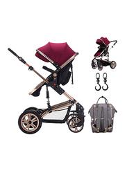 Teknum 3-in-1 Pram Stroller with Sunveno Grey Diaper Bag and Hooks, Wine