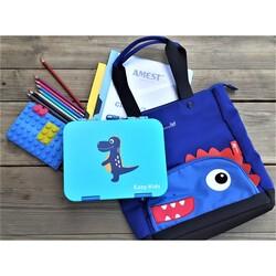 Nohoo Tote Bag and Lunch Box School Set, Dinosaur Bento, Blue