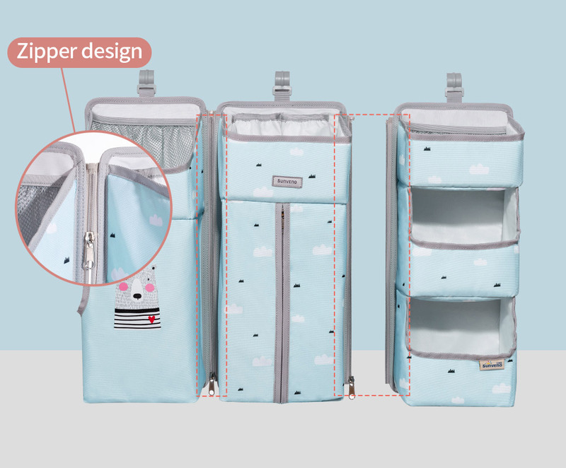 Sunveno Baby Bedside Portable Crib Organizer, Blue