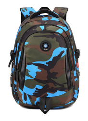 Sambox Camouflage School Backpack Bag for Kids, XL, Blue/Green