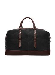 Sam Box Weekender Leather Duffle Bag, Black