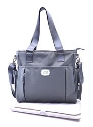 Little Story Mamma Nappy Bag with Changing Pad and Hook Set, Grey