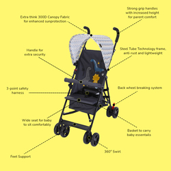 Little Story Playard with Stroller and Diaper Bag Set, Grey