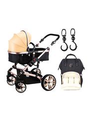 Teknum 3-in-1 Pram Baby Stroller, with Sunveno Diaper Bag and Hooks, Black/Khaki