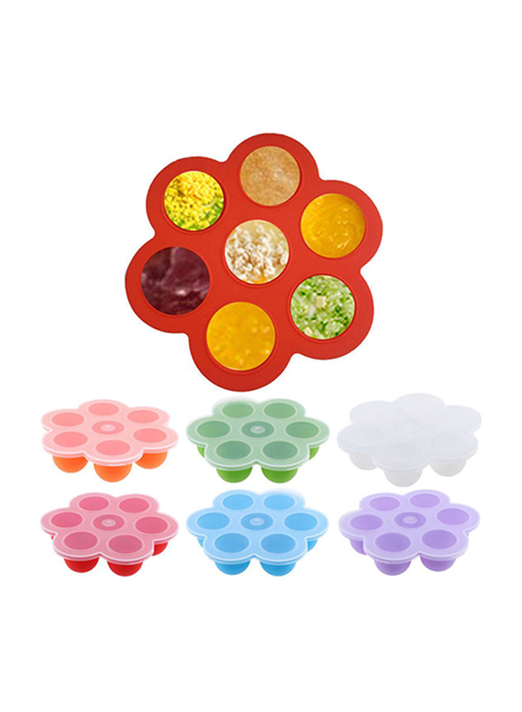 Eazy Kids Baby Food Silicone 7 Compartments Freezer Tray, Red