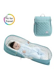 Sunveno Portable Baby Bed and Diaper Bag, Sea Green