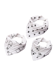 Eazy Kids 3-pieces Muslin Bandana Bibs, Black/White