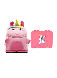Nohoo Bento Unicorn 3D Baby Backpack Bag, with Lunch Box, Pink