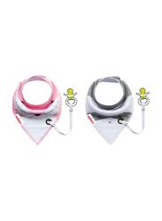 Eazy Kids 2-Pieces Organic Cotton Bandana Drool Bibs Set, Pink/Grey