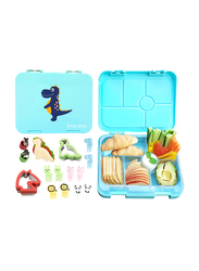 Eazy Kids 6 Compartment Bento Lunch Box with 2 Sandwich Cutter, 2 Veggie Cutter and 10 Animal Shaped Fruit Picks, Dino, Green