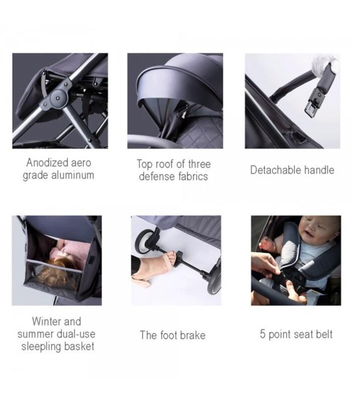 Teknum Travel Lite Baby Stroller, with 2-in-1 Sunveno Diaper Bag and Hooks, Dark Grey