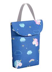 Sunveno Wet & Dry Organizer Diaper Shoulder Bag, Unicorn Head, Dark Blue