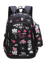 Sambox School Backpack Bag for Kids, Floret, Black