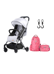 Teknum Travel Lite Stroller, SLD with Sunveno 2-in-1 Diaper Bags, Silver