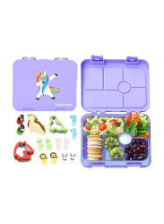 Eazy Kids 6 Compartment Bento Lunch Box with 2 Sandwich Cutter, 2 Veggie Cutter and 10 Animal Shaped Fruit Picks, Unicorn, Purple