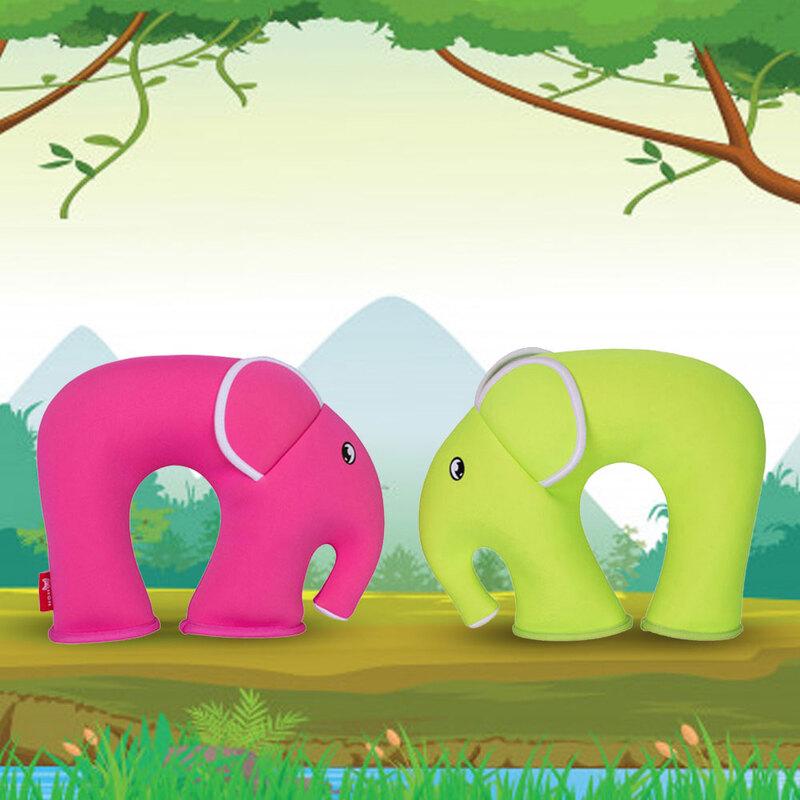 Nohoo Jungle Travel Kids Pillow, Elephant, Green