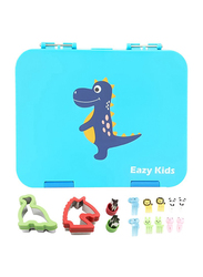 Eazy Kids 4 Compartment Bento Lunch Box with 2 Sandwich Cutter, 2 Veggie Cutter and 10 Animal Shaped Fruit Picks, Dino, Blue