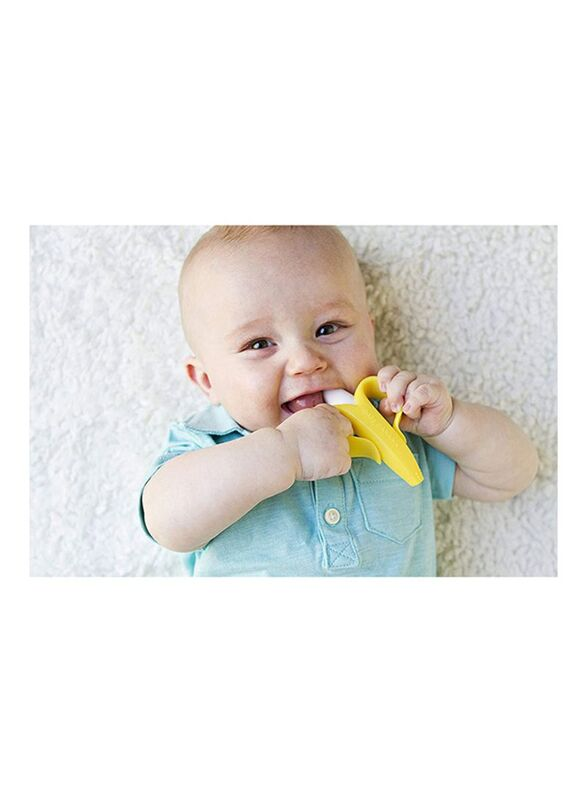 Eazy Kids Baby Banana Teether and Toothbrush for Infant, Yellow