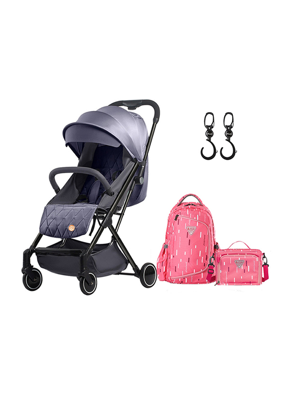Teknum Travel Lite Stroller, SLD with Sunveno 2-in-1 Diaper Pink Bags and Sunveno Rotating Stroller Hook, Dark Grey