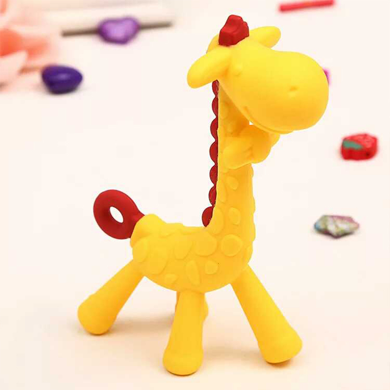 Eazy Kids Giraffe Silicone Teether, Yellow
