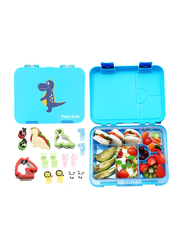 Eazy Kids 6 & 4 Compartment Convertible Bento Lunch Box with Sandwich Cutter, Veggie Cutter and Animal Shaped Fruit Picks, Dino, Blue