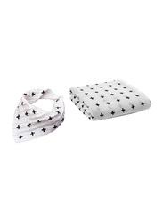 Eazy 2-Pieces Kids Cotton Muslin Swaddle and Bib Set, Newborn, Plus, XL, White
