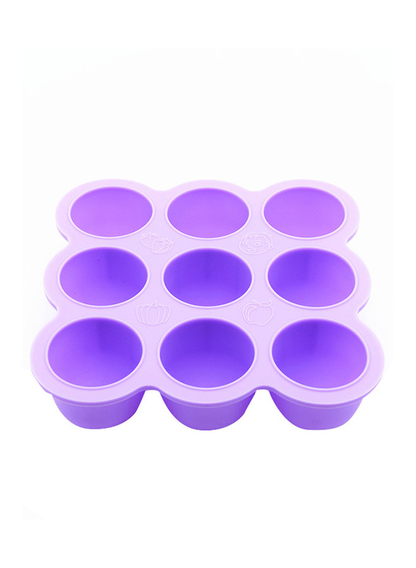 Eazy Kids Baby Food Silicone 9 Compartments Freezer Tray, Purple