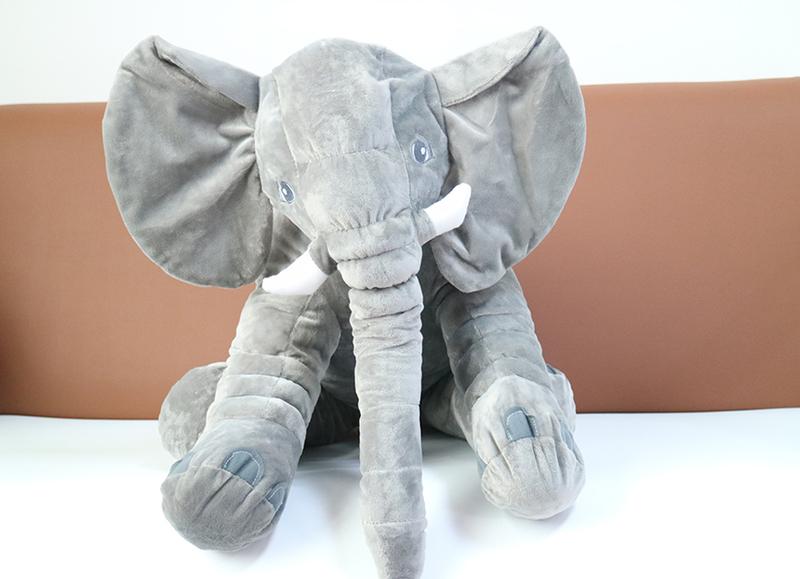 Eazy Kids Plush Elephant Shape Pillow, Big, Grey